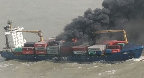 Container ship on fire in Bay of Bengal, 22 crew members rescued