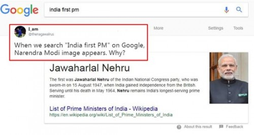 Google fixes glitch showing Modi's photo as India's first PM