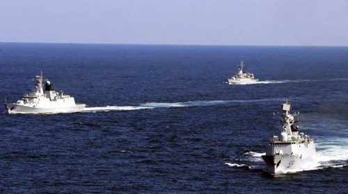 Ships of India, US, Japan manoeuvre in rough monsoon sea for Malabar