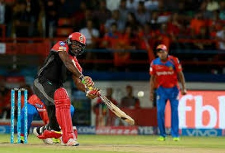IPL-10: Gayle's fireworks take RCB to 213/2 vs Gujarat Lions